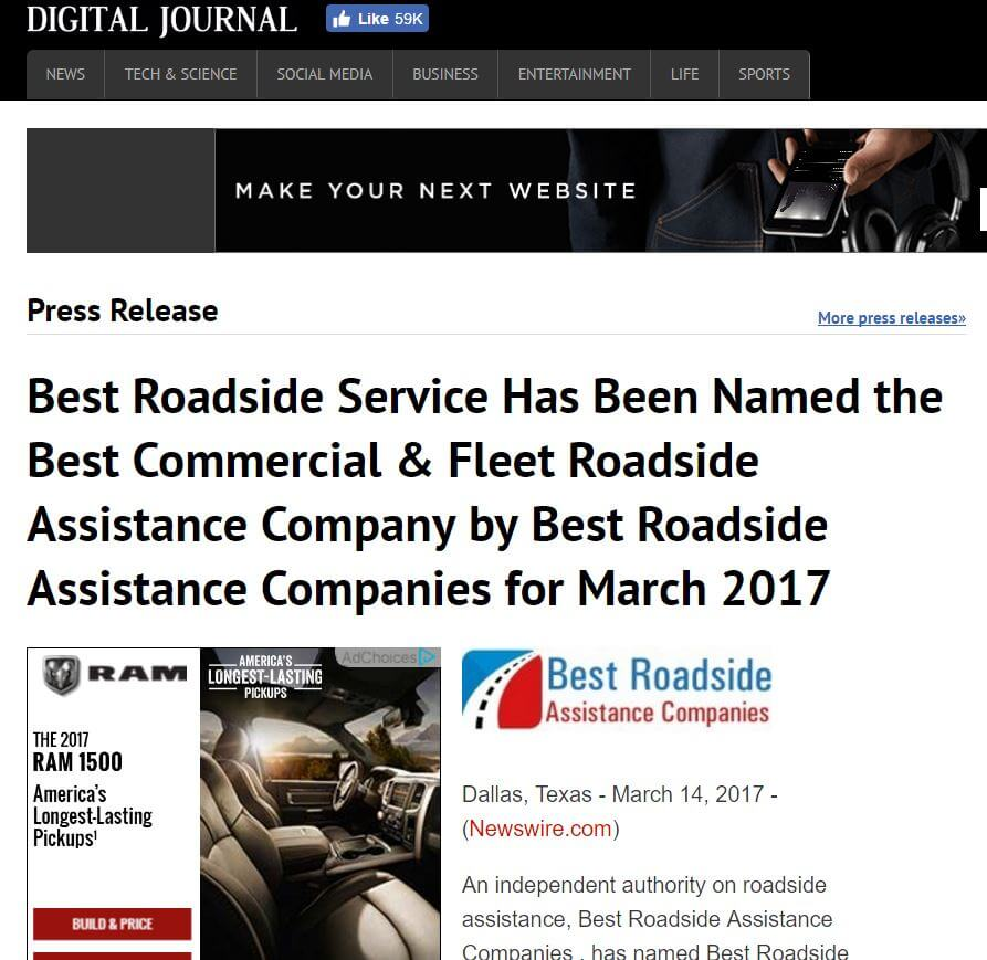 press release Best Roadside Service is best company in March 2017